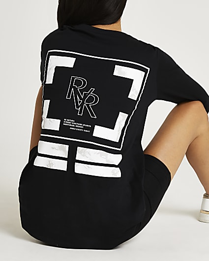 Black marble print graphic oversized t-shirt
