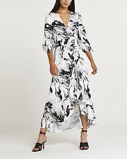 Black marble print maxi dress