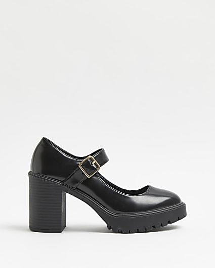 Black Mary Jane heeled pumps