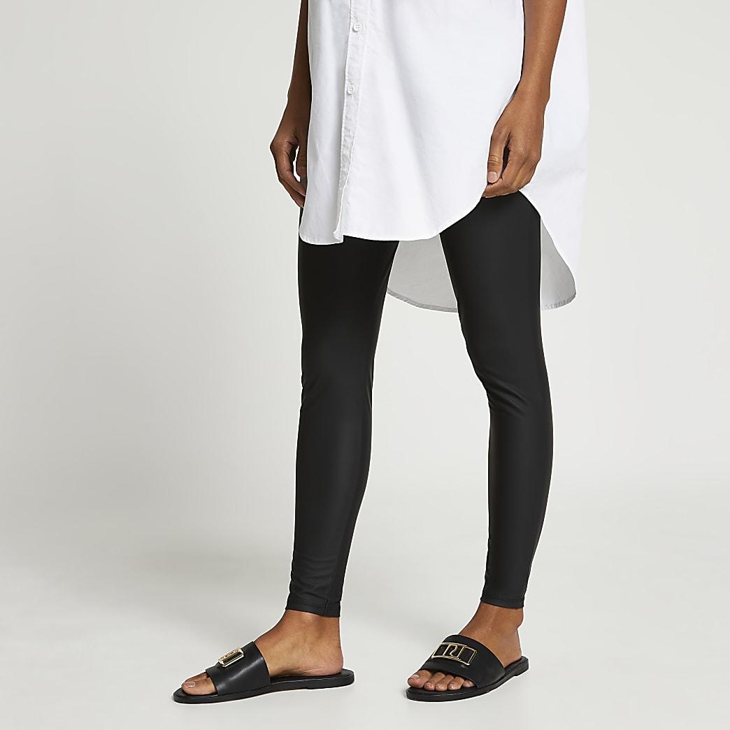 Black maternity coated high waist leggings