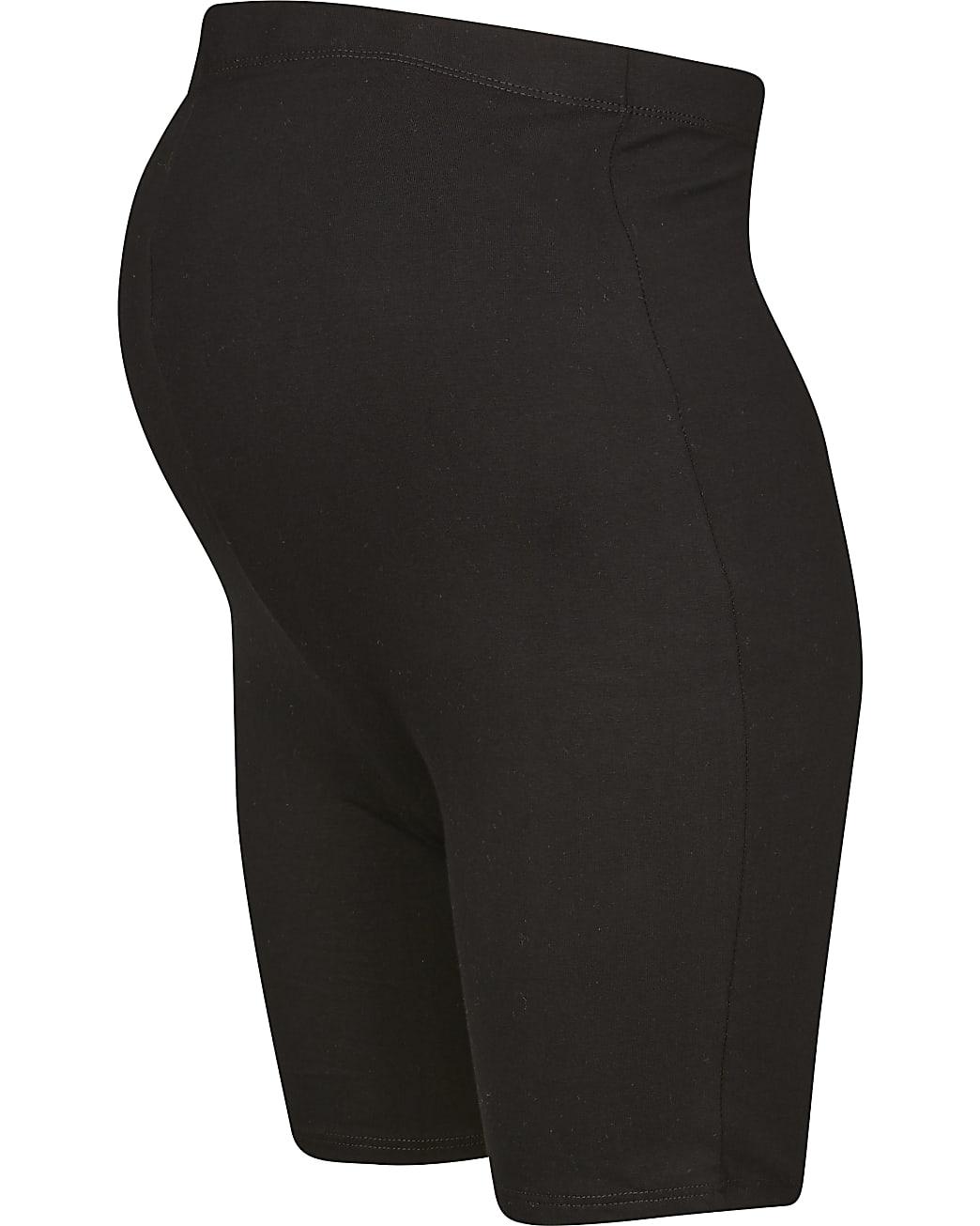 Black maternity cycling shorts