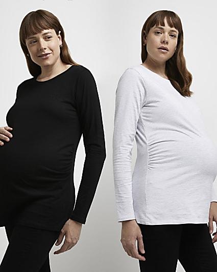 Black maternity long sleeve t-shirt multipack
