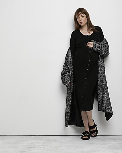 Black maternity midi dress