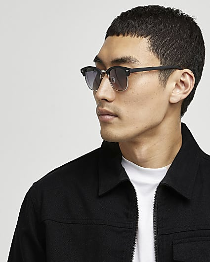 Black matte retro frame sunglasses