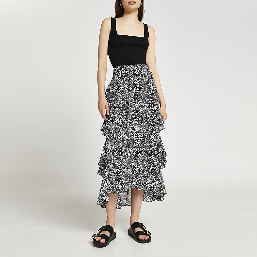 Black maxi ruffle skirt