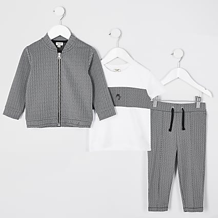 Black MB Herringbone 3 Piece Outfit