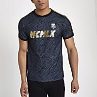 Black MCMLX football style tape T-shirt