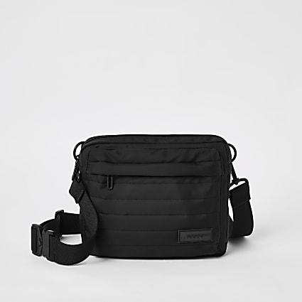 Black MCMLX padded cross body bag
