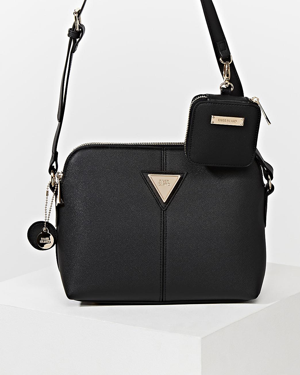 Black medium cross body with mini pouch bag
