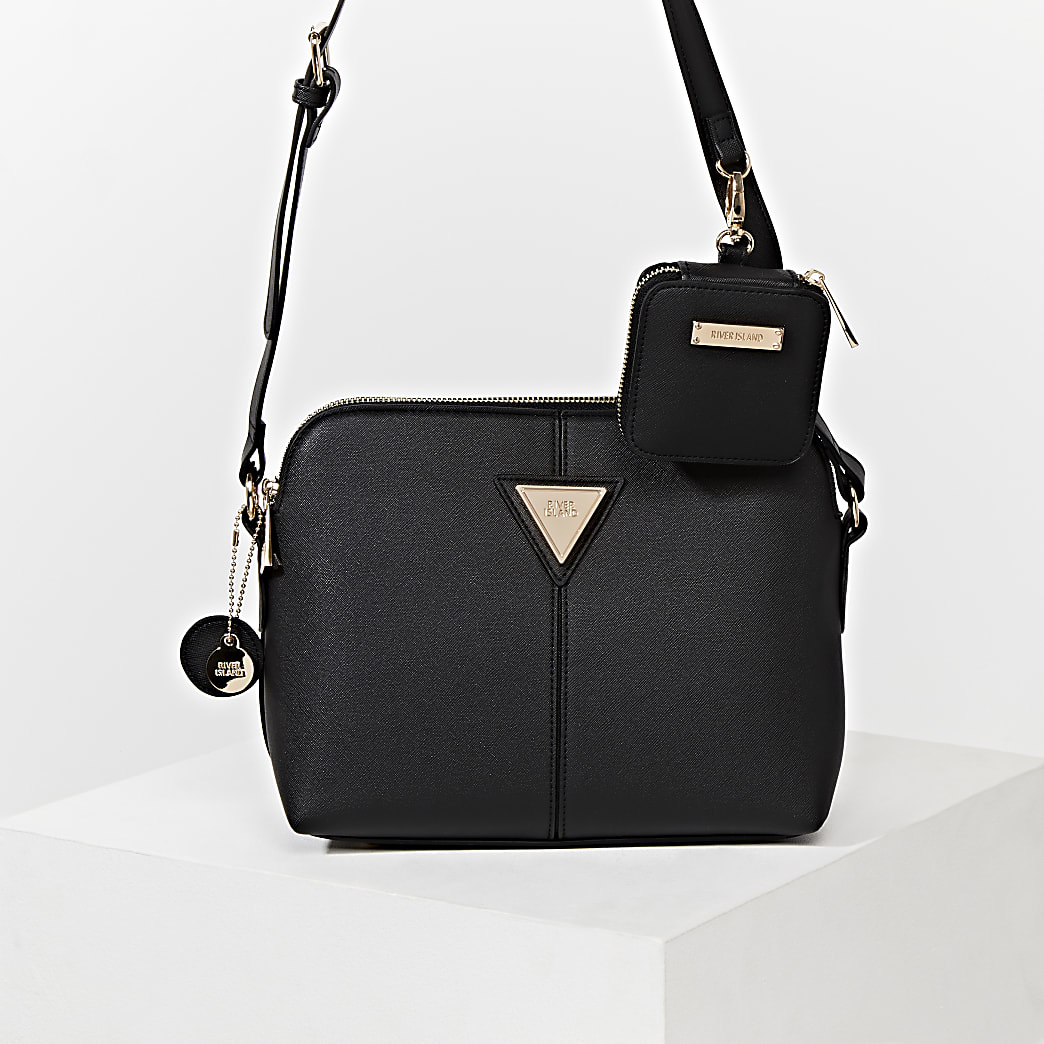 Black medium cross body with mini pouch bag