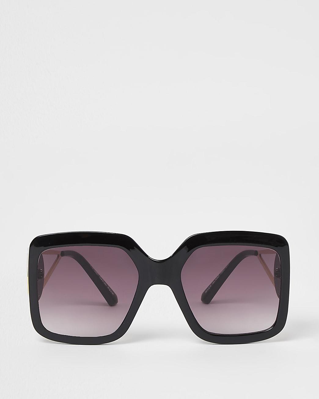 Black mega glam square cut out sunglasses