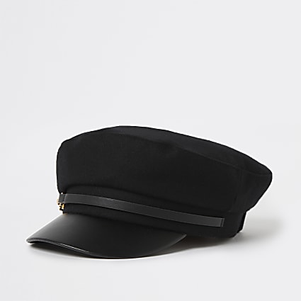 Black Melton bakerboy hat