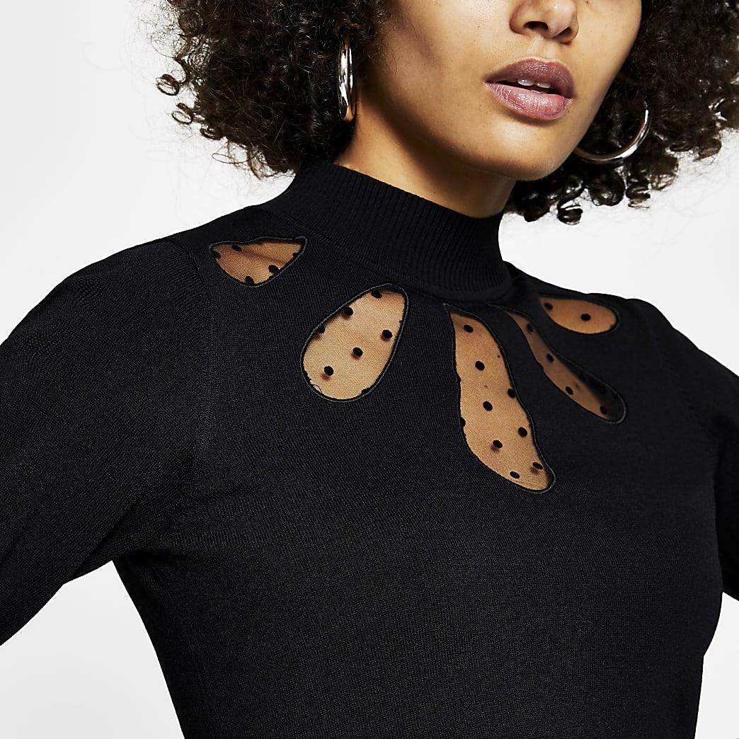 Black mesh cut out knit top