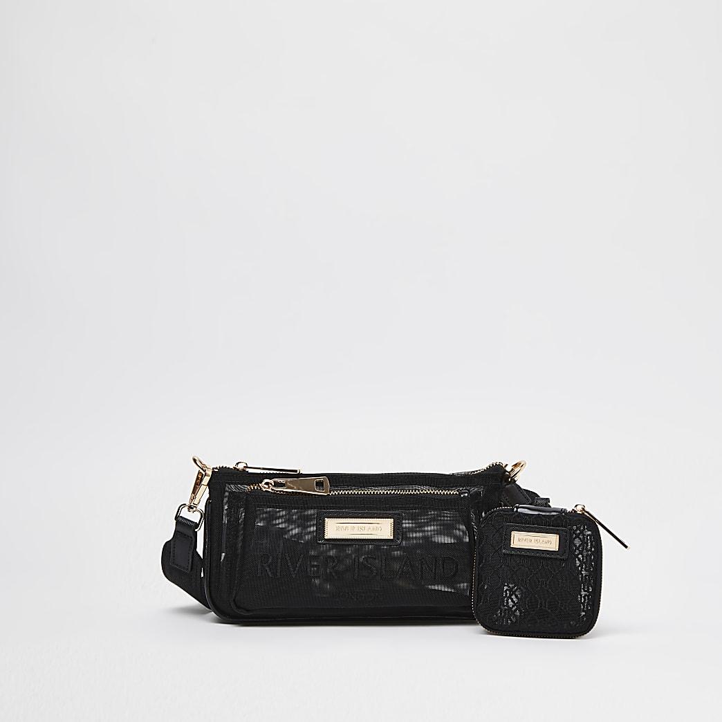 Black mesh double pouchette bag