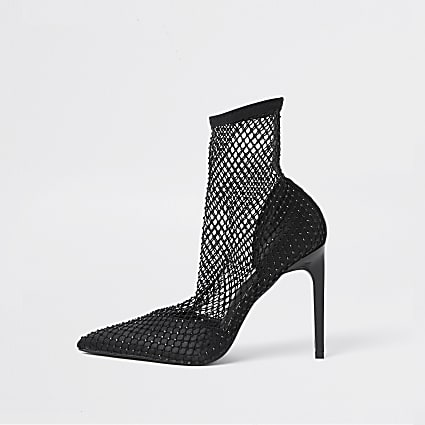 Black mesh embellished ankle boots