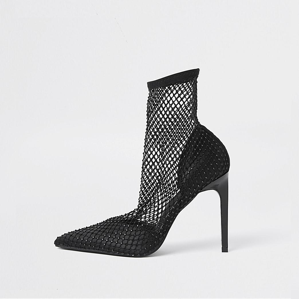 Black mesh embellished ankle boots