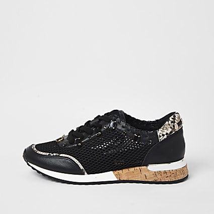 Black mesh gem runner trainers
