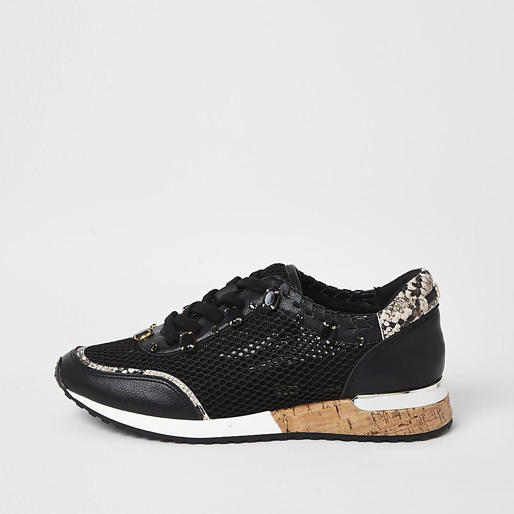 Black mesh gem runner trainers