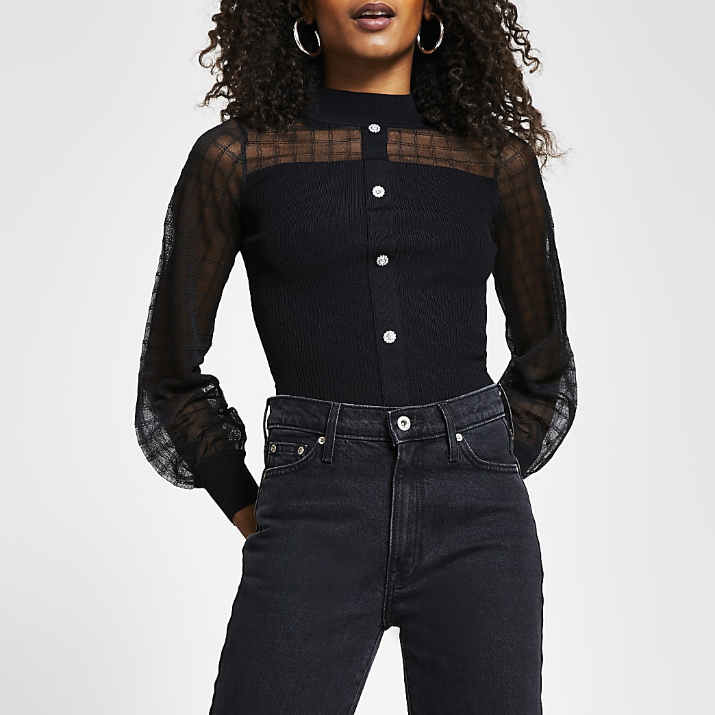 Black mesh knit body fit top
