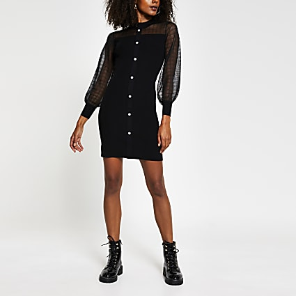 Black mesh knit bodycon dress