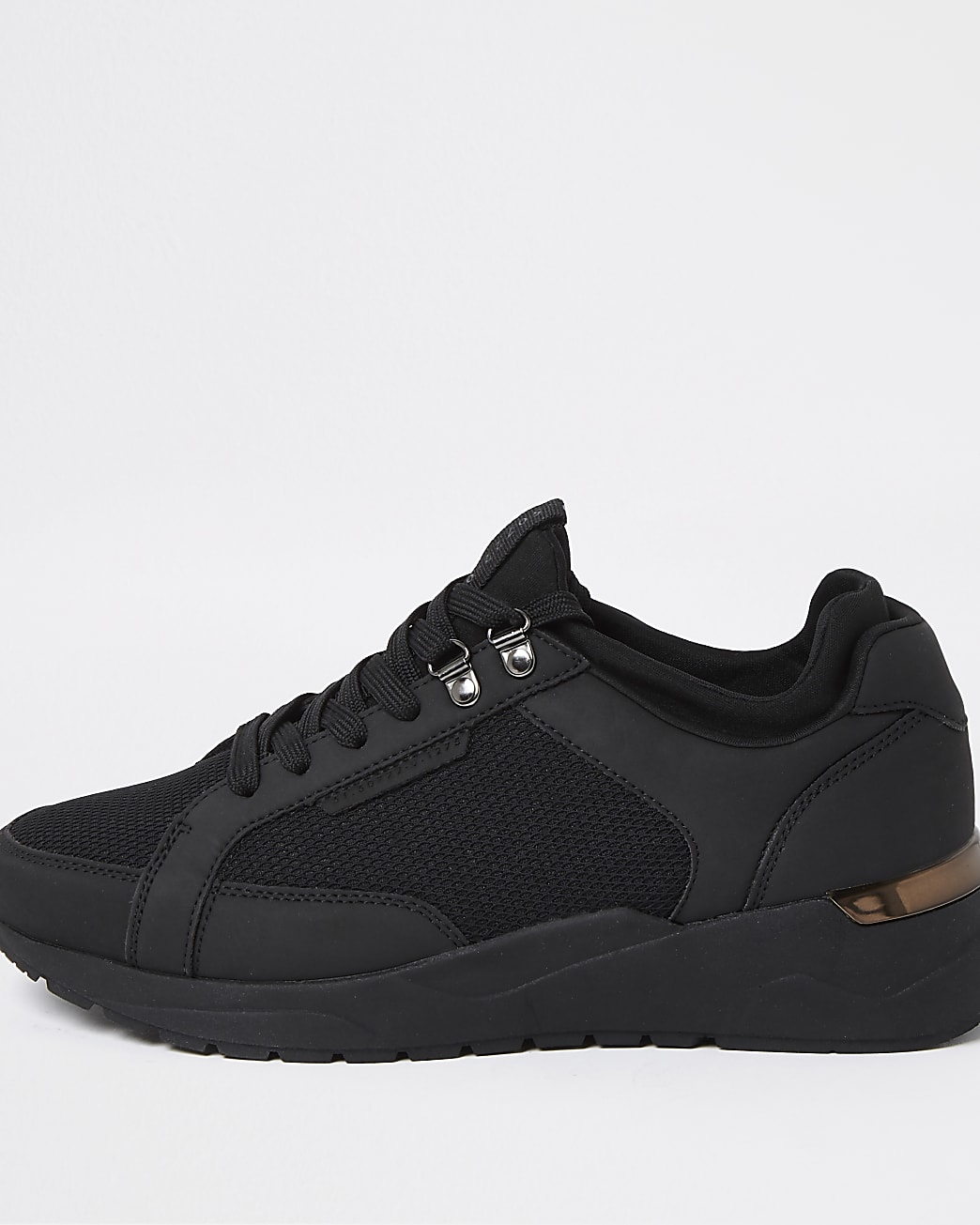 Black mesh lace up trainers