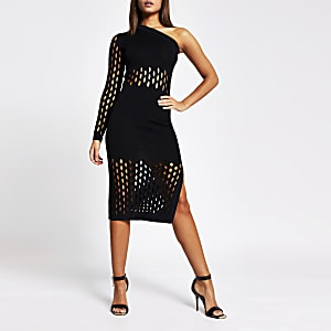 Black mesh one shoulder knitted midi dress