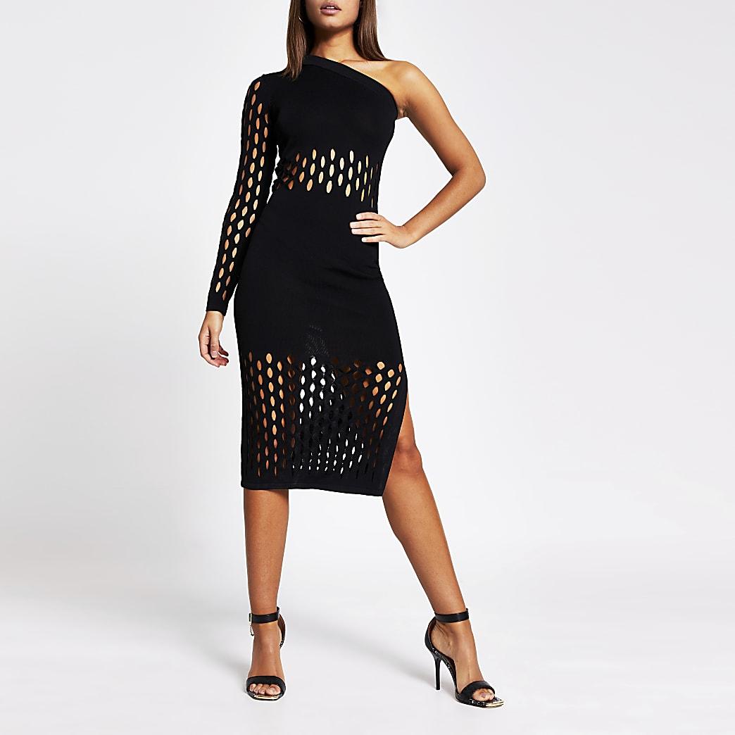 Zwarte gebreide mesh midi-jurk met ontblote schouder