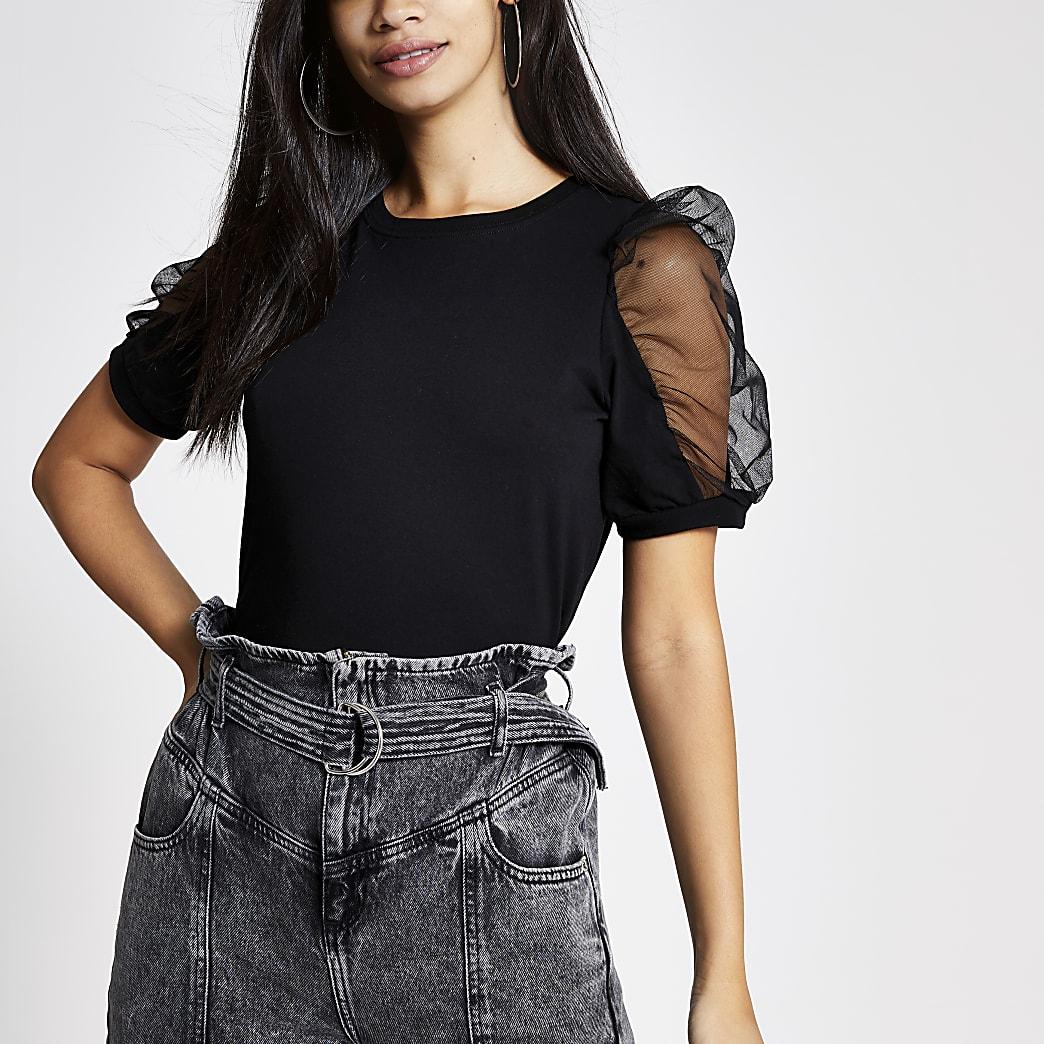 Black mesh puff sleeve T-shirt