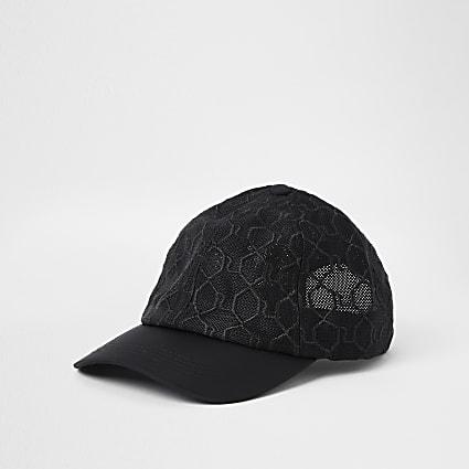 Black mesh RI monogram cap