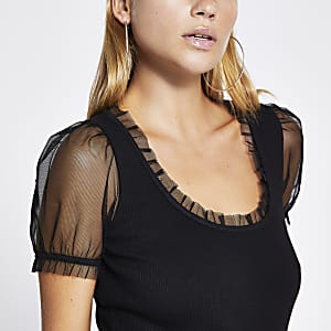 Black mesh short sleeve scoop neck T-shirt