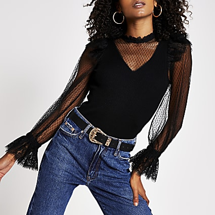Black mesh sleeve frill detail ribbed top