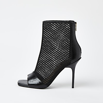 Black mesh zip front shoe boots