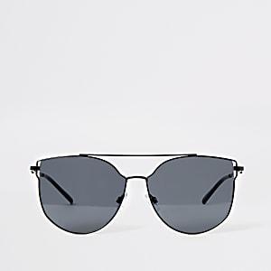 Schwarze Pilotensonnenbrille mit Metallgestell