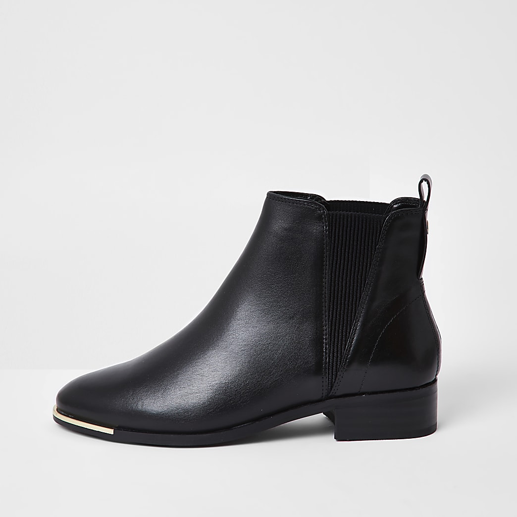 Black metal toe chelsea flat ankle boots