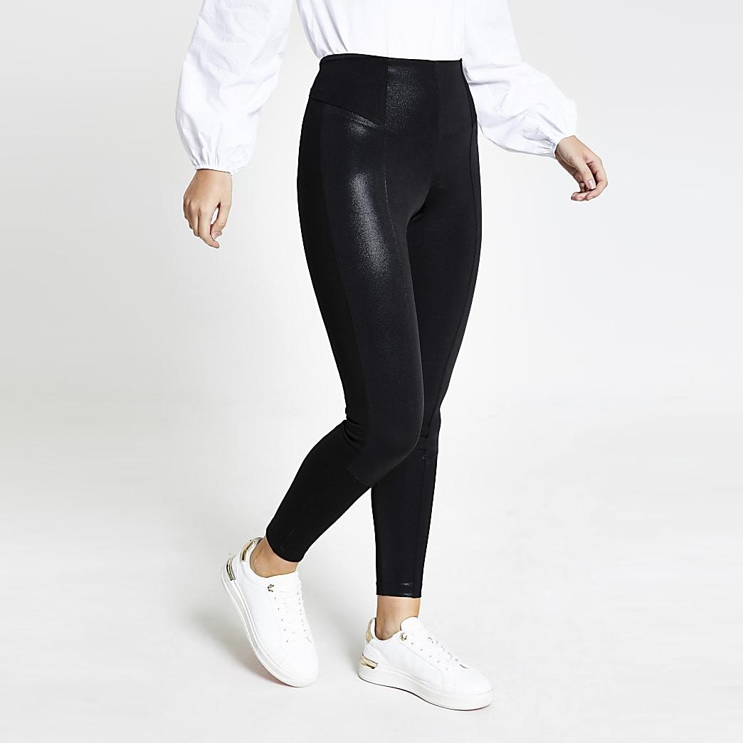 Black metallic coated leggings
