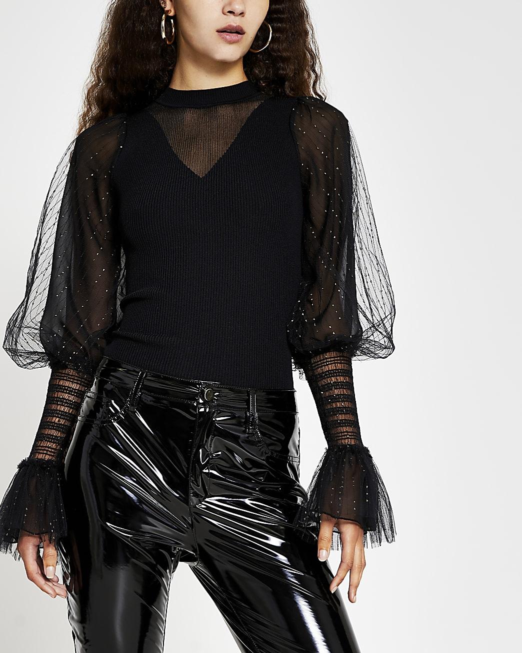 Black metallic long sleeve ruffle top