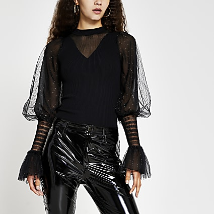 Black metallic long sleeve ruffle top