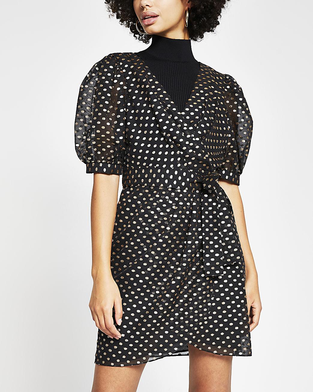 Black metallic polka dot tea dress