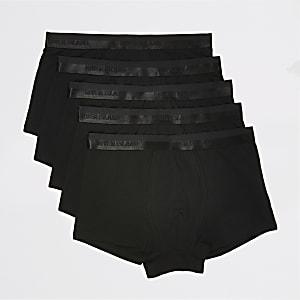Set van 5 zwarte metallic strakke boxers met RI-tailleband