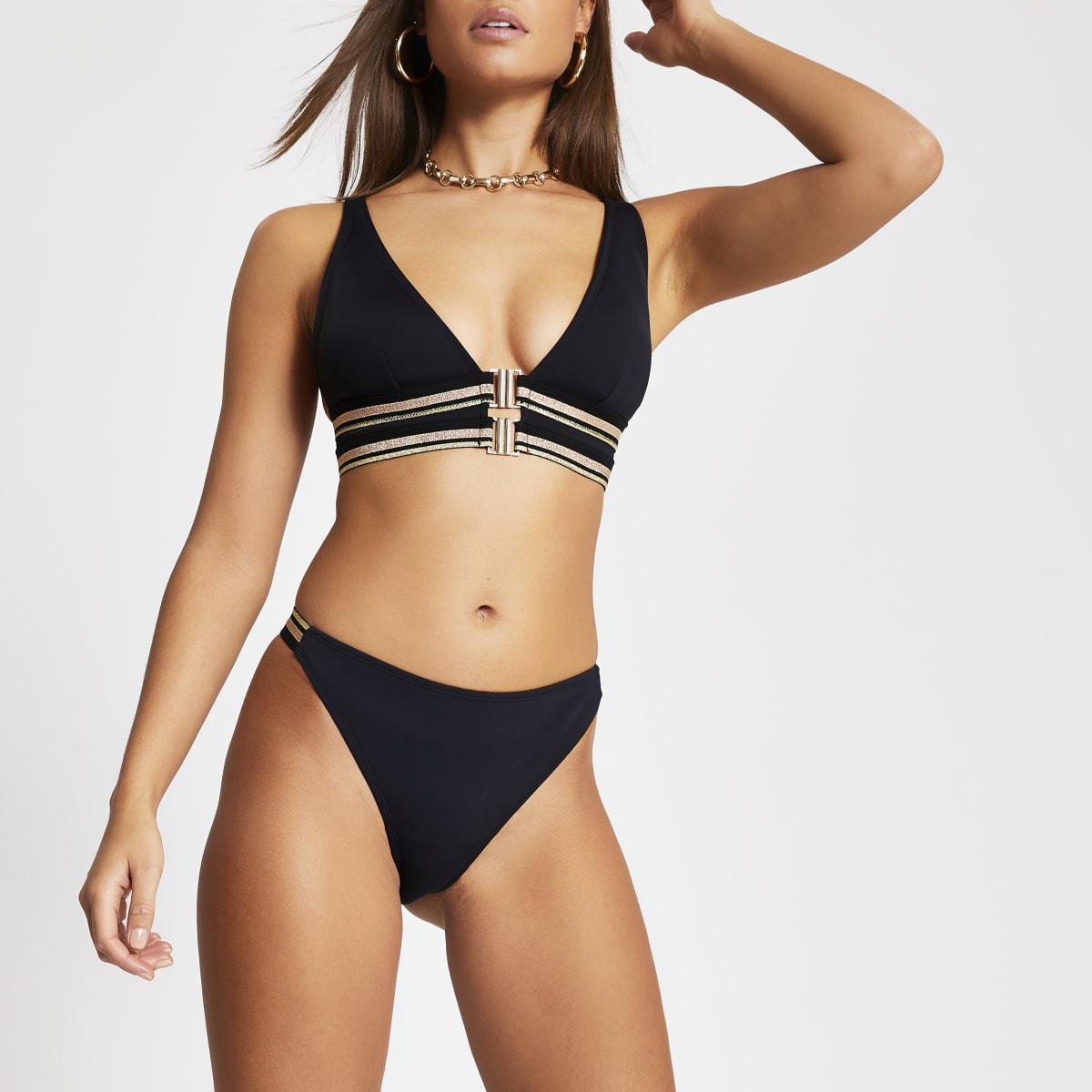 Schwarze Bikinihose mit Metallic-Tape und hohem Beinausschnitt