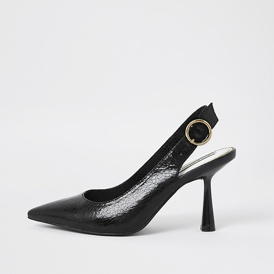 Black mid heel sling back court heel