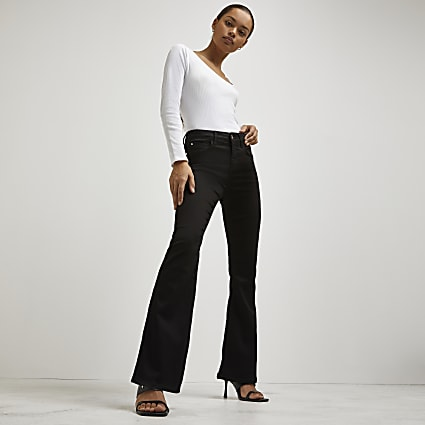 Black mid rise flare jeans