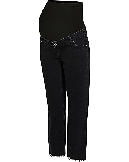 Black mid rise maternity straight jeans