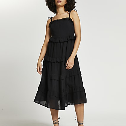 Black midaxi ruffle beach dress