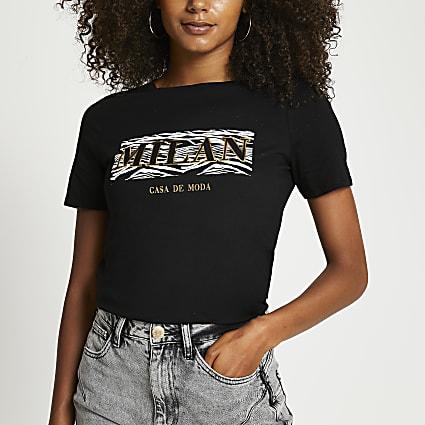 Black Milan animal print t-shirt