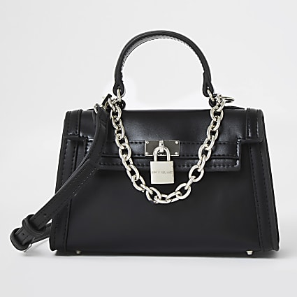 Black mini chain detail padlock crossbody bag