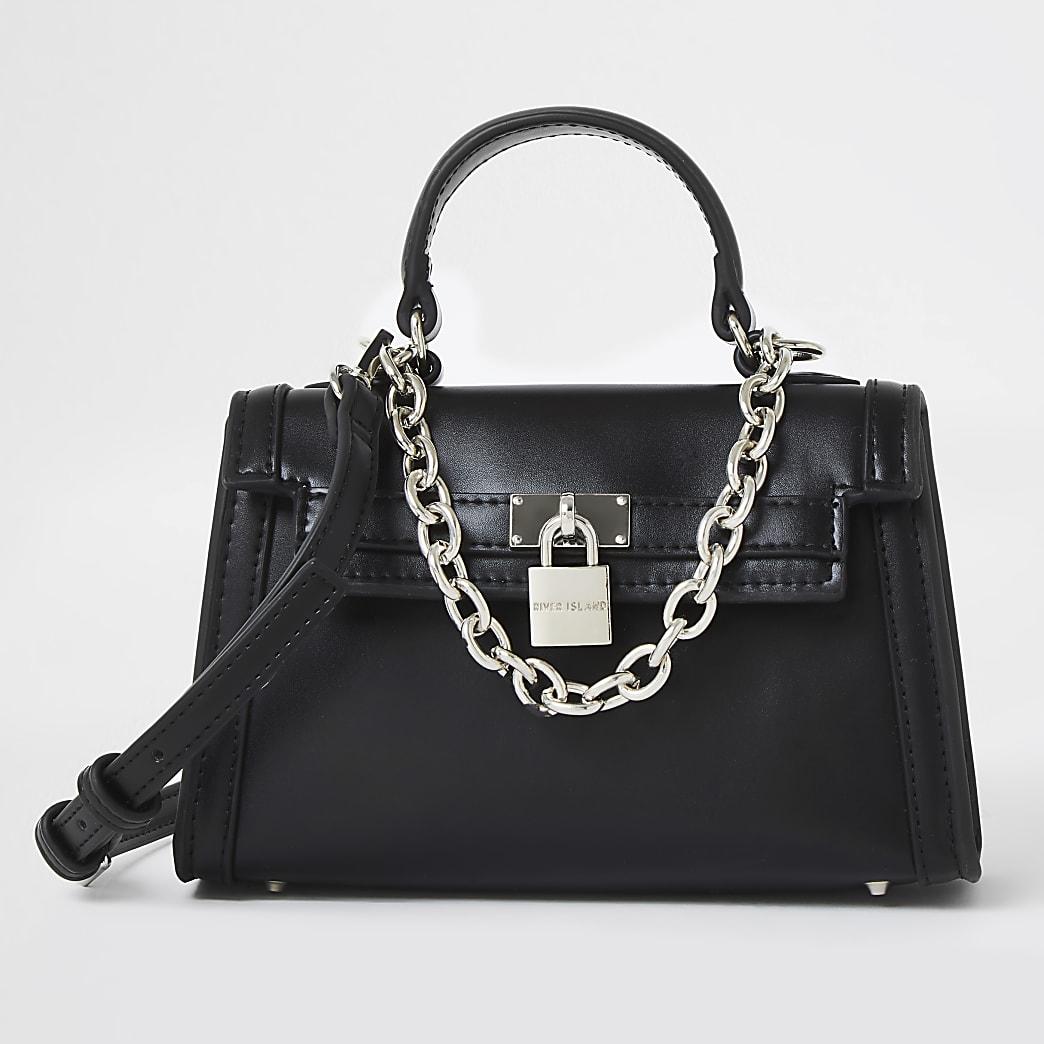Black mini chain detail padlock crossbody bag