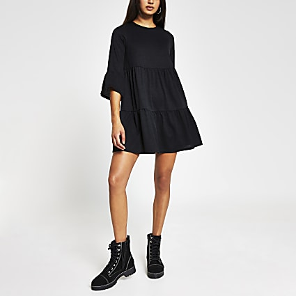 Black Mini smock dress