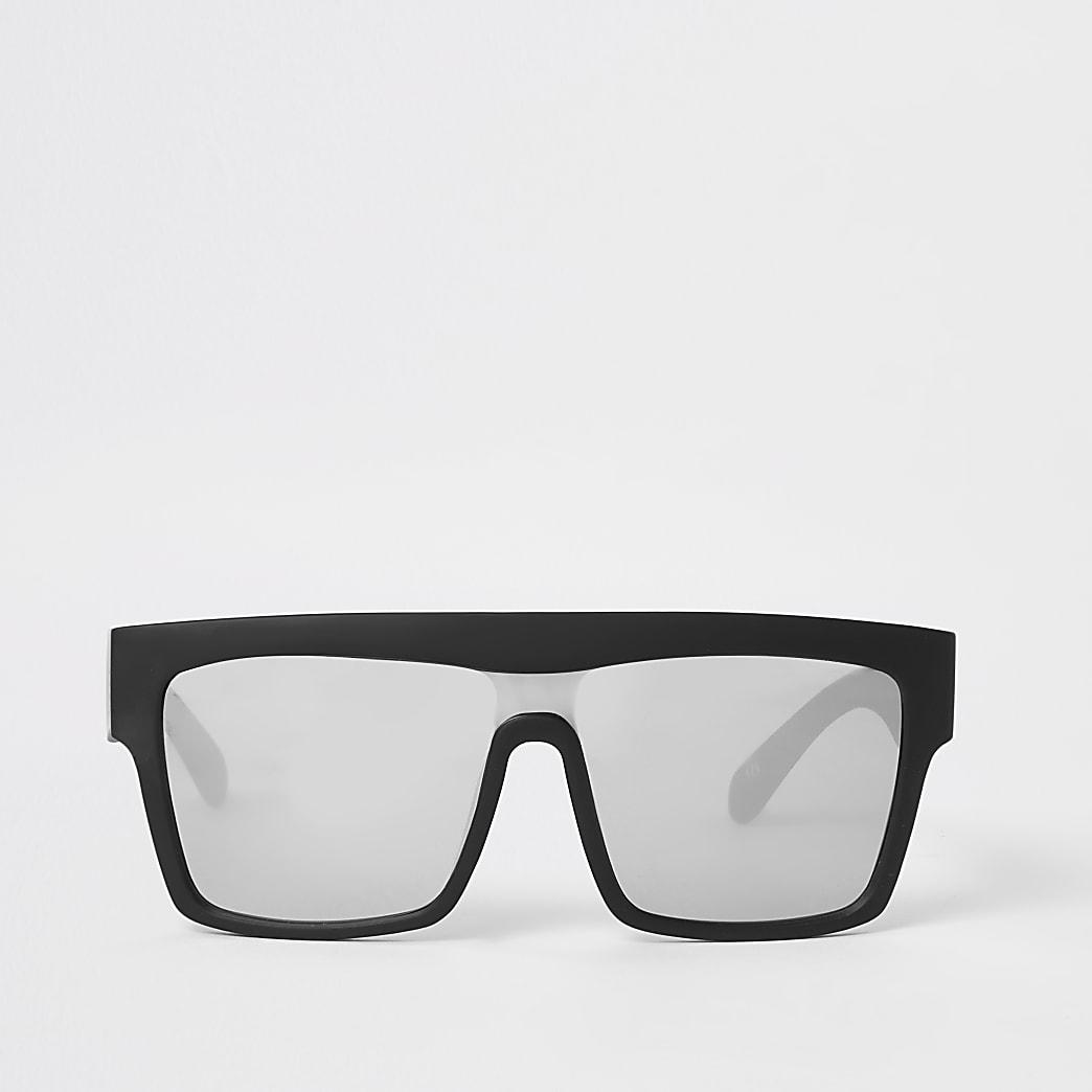 Black mirrored chunky visor sunglasses