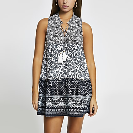Black mixed print mini beach dress